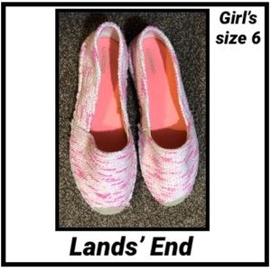 Girl's Lands' End Pink Marled Slip On Shoes